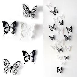ElecMotive 36 PCS 3D Colorful Crystal Butterfly Wall Sticker
