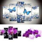 5pcs Canvas Flowers Butterfly Modern Abstract Print Painting