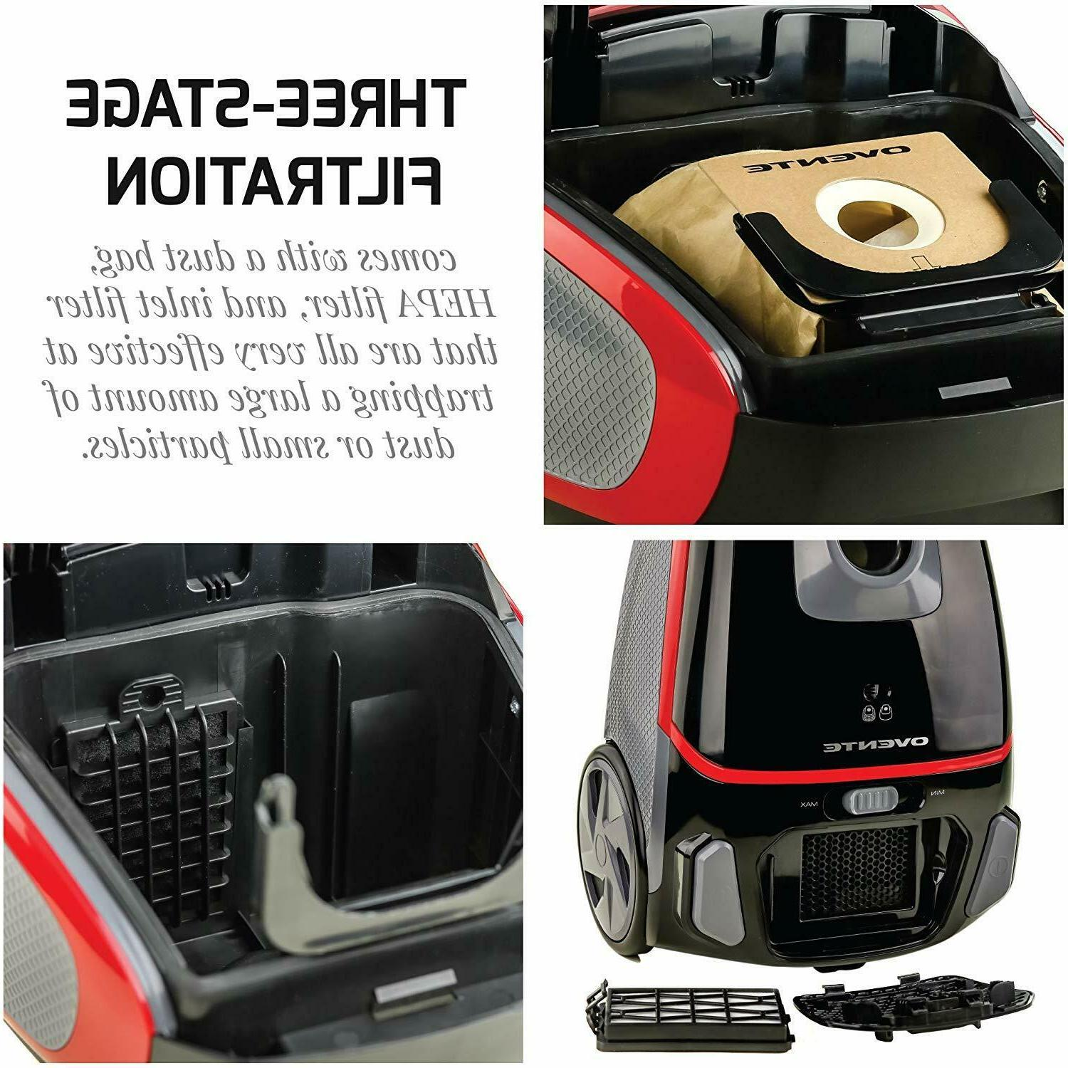 Ovente Canister Vacuum Watts with Speed Black