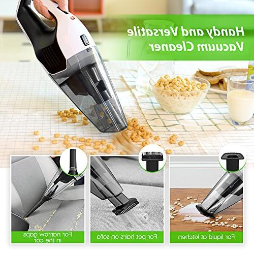 Handheld Vacuum 6KPA Hand Vacuum Cleaner Rechargeable Hand Vac, Lithium with Lightweight Wet Vacuum for Car