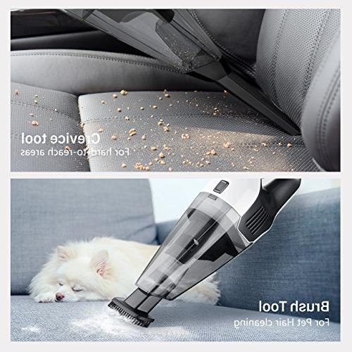Handheld 6KPA Vacuum Rechargeable Hand Vac, 14.8V Lithium with Lightweight Vacuum for Hair Car Cleaning