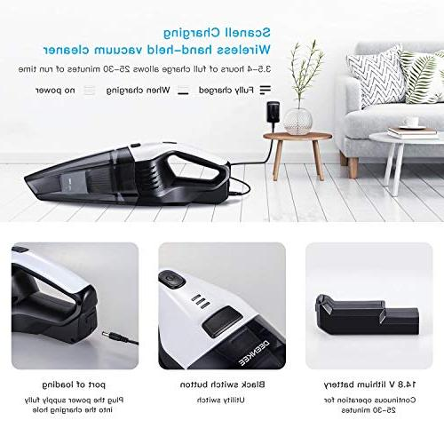 Handheld Hand Vac with Kpa 14.8V Li-ion Battery, & Cordless Home and Car Cleaning