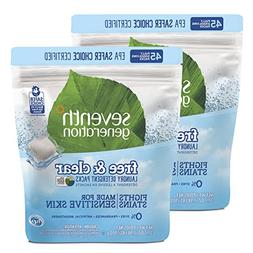Seventh Generation Laundry Detergent Packs, Free & Clear, 90